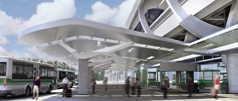 Rendering of Bus Station Canopy & Design of canopy structures for Miami Central Station